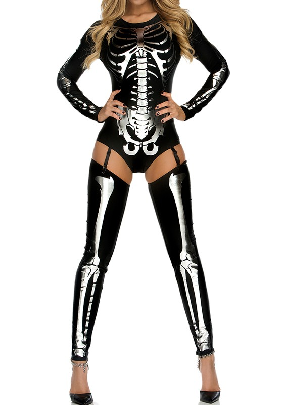 b4a69a26449 Black-Silver The V ire Halloween Costumes Skeleton Ghost Bride The Queen  Long Jumpsuit Sc 1 St Cichic