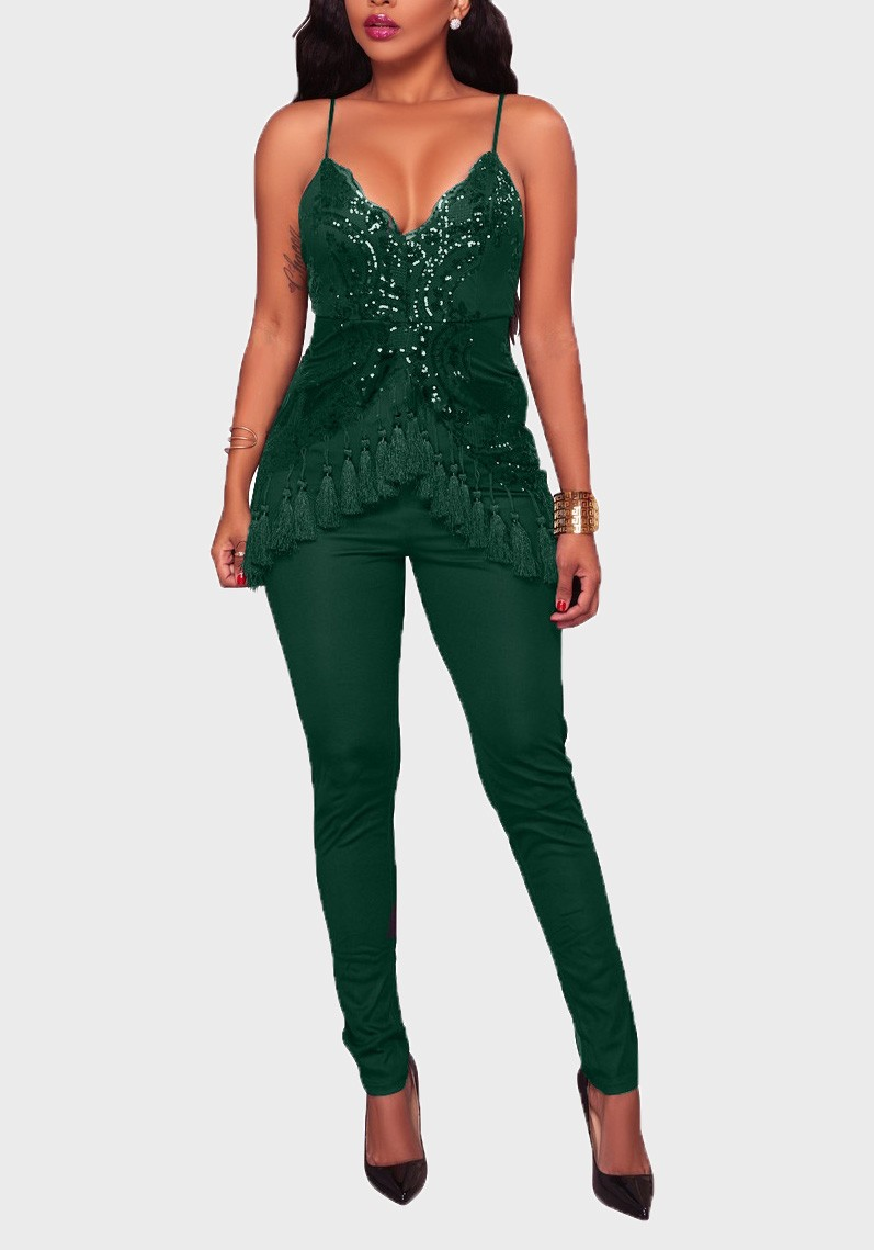 7763daf082 Green Sequin Lace Tassel Backless Spaghetti Strap Bodycon High Waisted Party  Long Jumpsuit