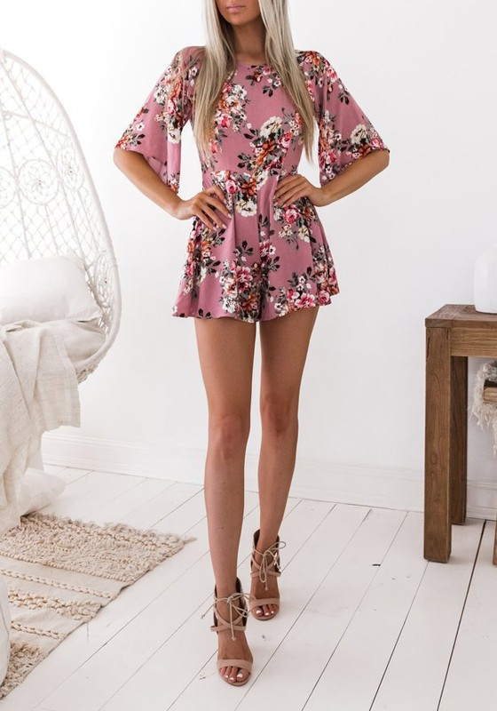 40c65b2bb7f Pink Floral Pattern Backless Elbow Sleeve High Waisted One Piece Cute Short  Jumpsuit