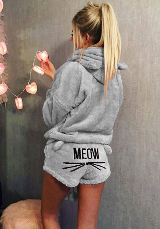 new products 795dc 4a37f Graue Katze Ohren Kapuze Short Jumpsuit Warm Winter Zweiteilige Nachtwäsche  Pyjamas Sleepwear Overall Teddy Hoodies und Shorts