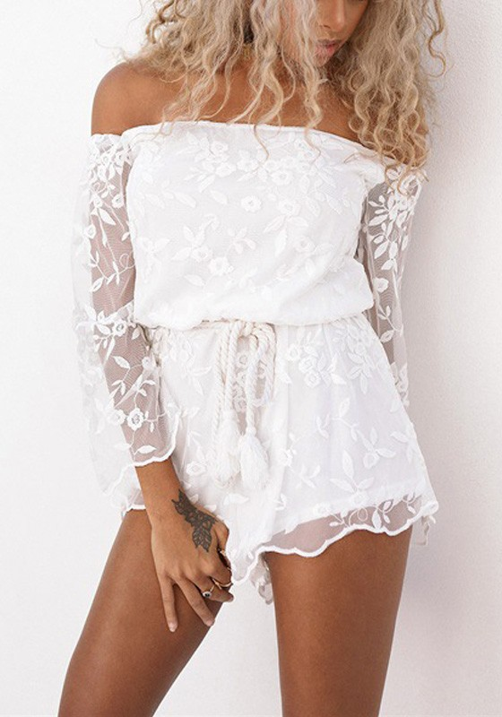 6b23b5a8bfd White Patchwork Embroidery Grenadine Drawstring Waist Short Jumpsuit -  Shorts - Bottoms