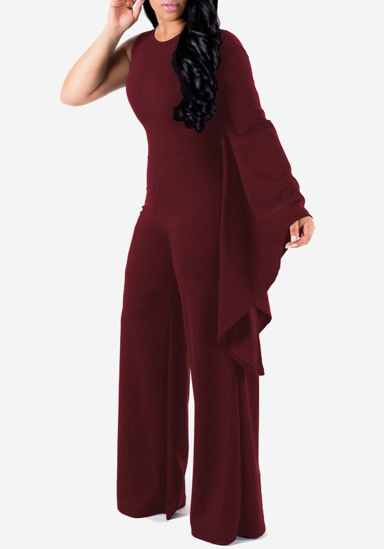 69c10d2604c Burgundy Irregular Flare Sleeve Plus Size One Piece Party Wide Leg Long  Jumpsuit - Jumpsuits - Bottoms
