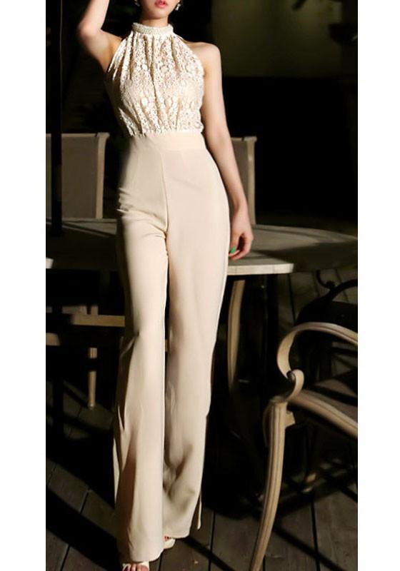 size 40 9bda5 225bb Apricot Spitze Perlen Rundhals Ärmellos Hohe Taille Elegantes Partey Lange  Overall Damen Jumpsuit Hochzeit