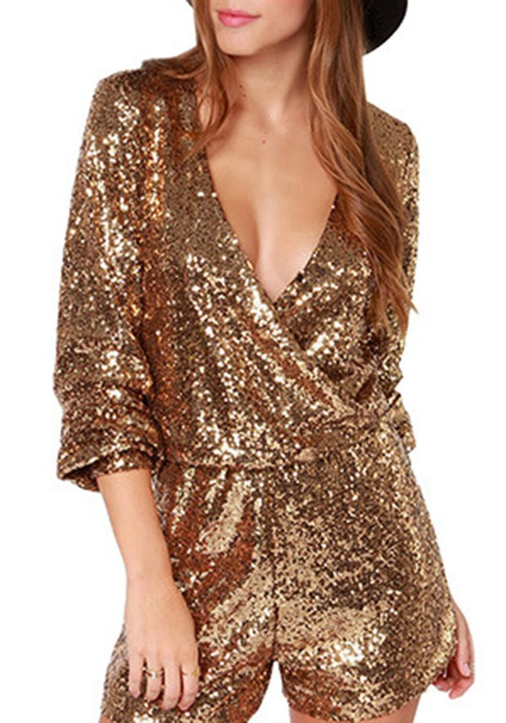 Golden Pailletten Glitzer High Waisted Kurz Jumpsuit Damen Festliche Overall e8274050e2