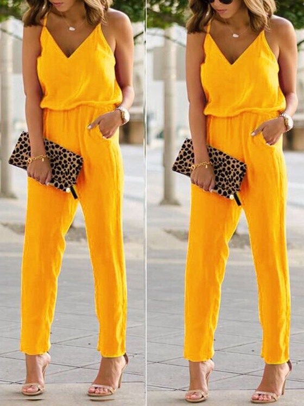 size 40 bb09e acfbb Gelb Taschen Spaghettiträger V-Ausschnitt Rückenfreies Hohe Taille  Elegantes Lange Overall Damen Jumpsuit Günstig