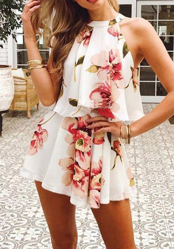 99a67ac20d1 White Floral Tie Back Ruffle Elastic Waist Short Jumpsuit - Shorts - Bottoms