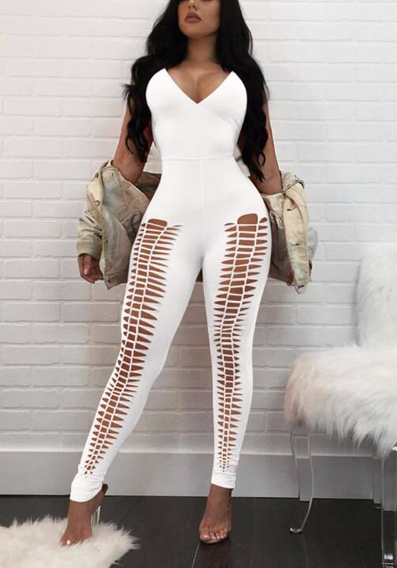 9ba27a5f0cbb White Cut Out Backless Lace-up Spaghetti Strap Bodycon Catsuit Deep V-neck  Long Jumpsuit - Jumpsuits - Bottoms