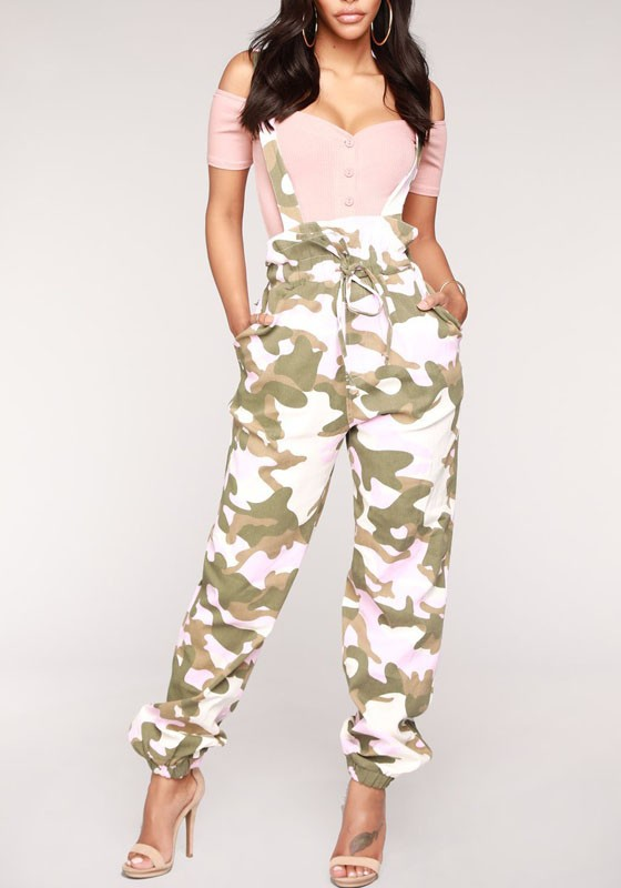 c8d84538421 Pink Camo Print Shoulder-Strap Pockets Drawstring Bowknot High Waisted  Casual Overall Pants