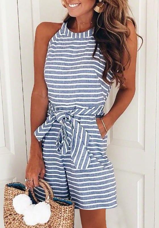 Shop für echte billiger Verkauf neueste Blaue Weiße Gestreifte Taschen Schleife Bindegürtel Damen Weite Kurz  Overall Jumpsuit Mode