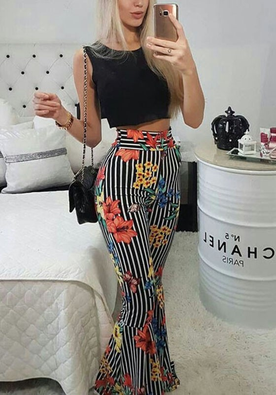 150008e76fd1 Black Striped Floral Two Piece High Waisted Casual Flare Bell Bottom Long  Jumpsuit - Jumpsuits - Bottoms