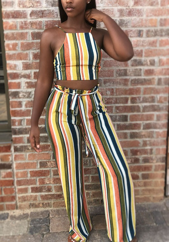 0ef202817545 Yellow Striped Sashes Two Piece Rainbow Halter Neck Casual Wide Leg Long  Jumpsuit - Jumpsuits - Bottoms