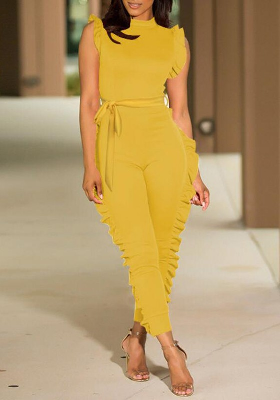 255d638c971 Yellow Cascading Ruffle Sashes High Waisted Multi Way Deep V-neck Casual Long  Jumpsuit - Jumpsuits - Bottoms