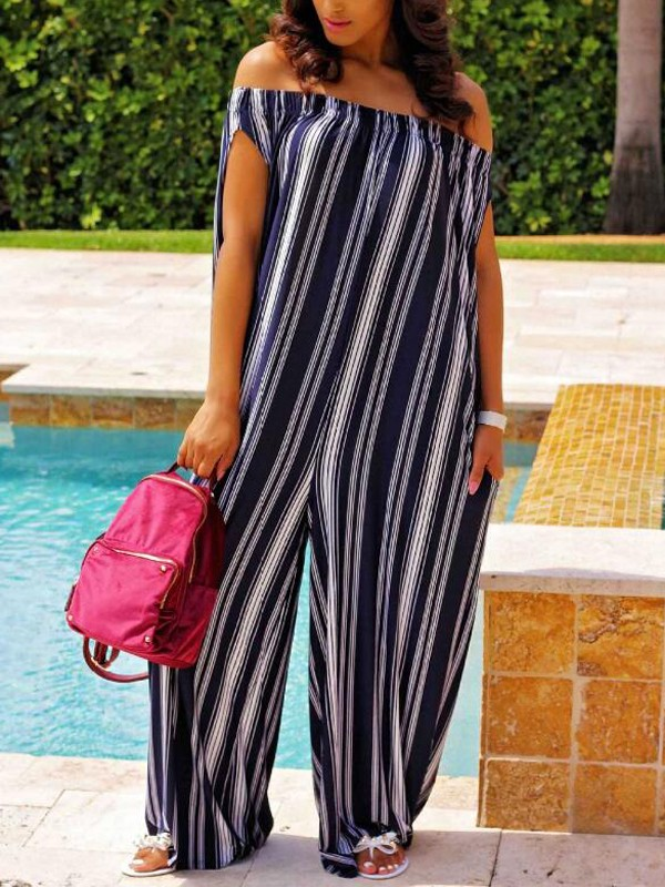 72241947b2aa Dark Blue Striped Pockets Off Shoulder Backless Oversized Casual Wide Leg  Long Jumpsuit - Jumpsuits - Bottoms