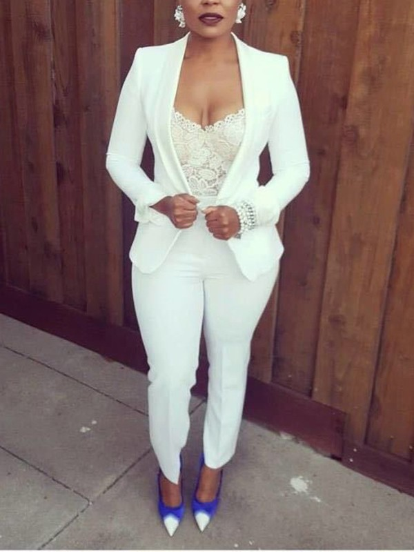 cd8e0c46d9c White Buttons Cardigan Top And High Waisted Fashion Office Suit Worker Daily  Long Jumpsuit - Jumpsuits - Bottoms