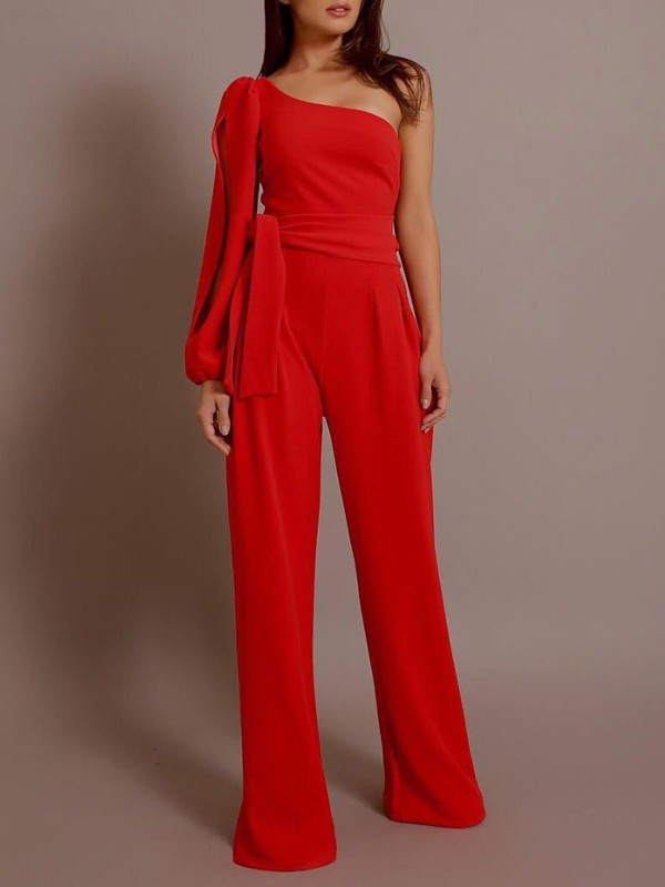 d160a7ec0e80 Red Cut Out Sashes One Shoulder High Waisted Long Jumpsuit - Jumpsuits -  Bottoms