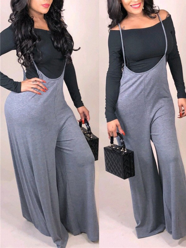 ef3bd04546d5 Grey-Black Off Shoulder Two Piece Casual Long Wide Leg Palazzo Overall  Jumpsuit - Jumpsuits - Bottoms