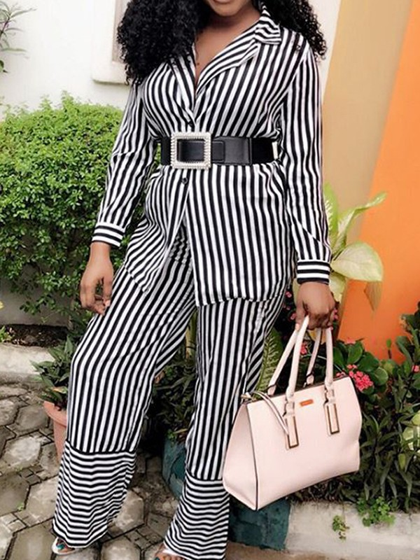 3f85eeb36ac8 Black-White Striped Single Breasted Two Piece Long Sleeve Casual High  Waisted Wide Leg Palazzo Long Jumpsuit - Jumpsuits - Bottoms