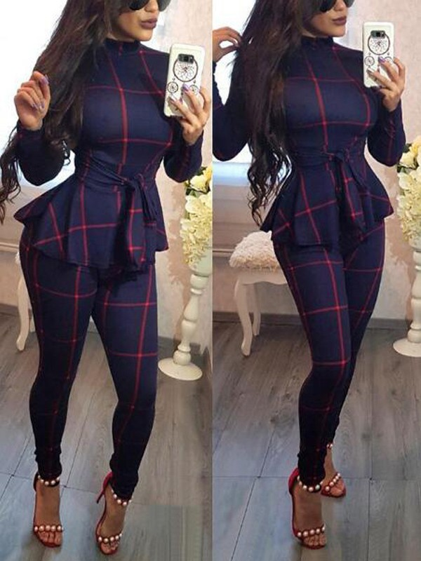 0f46fbfd80f Dark Blue Plaid Sashes Peplum Band Collar High Waisted Office Worker  Elegant Long Jumpsuit - Jumpsuits - Bottoms