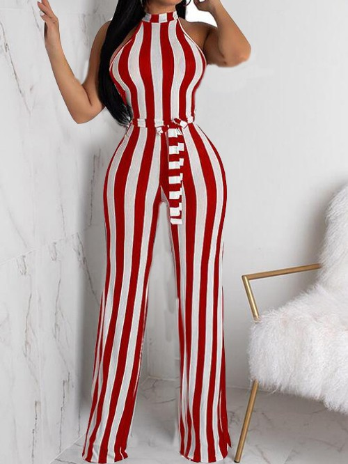 ed67da6fa7ee White-Red Striped Sashes Halter Neck Casual Wide Leg Long Jumpsuit -  Jumpsuits - Bottoms