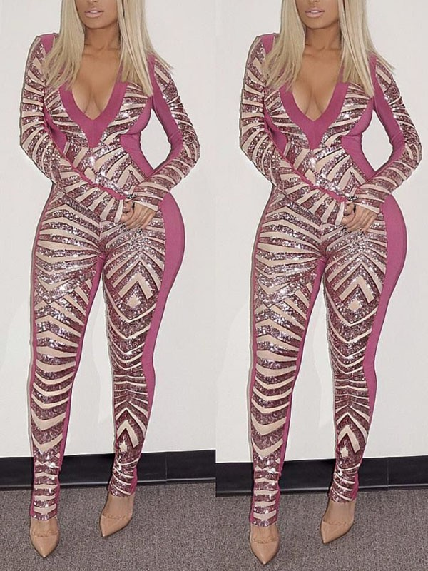 f64848e5e80a Pink Geometric Sequin Bodycon Long Sleeve V-neck Sparkly Glitter Birthday  Party Clubwear Long Jumpsuit