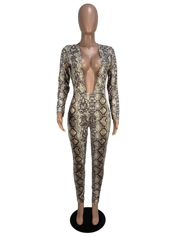 f938dddf5c9 Khaki Snake Skin Pattern Deep V-neck High Waisted Clubwear Party Long  Jumpsuit - Jumpsuits - Bottoms