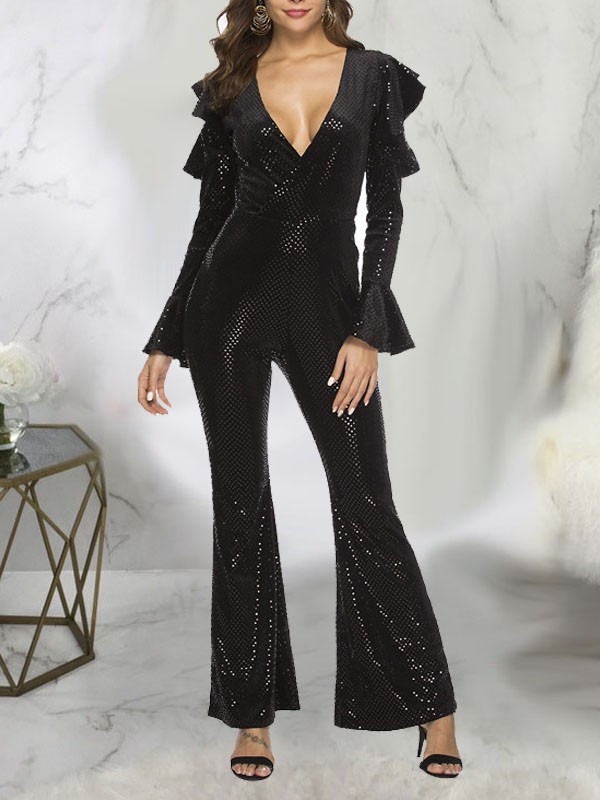 17da9123c98 Black Patchwork Sequin Ruffle Cut Out V-neck Bell Sleeve Sparkly Glitter  Party Wide Leg Palazzo Long Jumpsuit - Jumpsuits - Bottoms