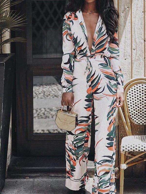 7fc11c125a White Palm Leaf Print Belt Deep V-neck Wide Leg Long Jumpsuit - Jumpsuits -  Bottoms