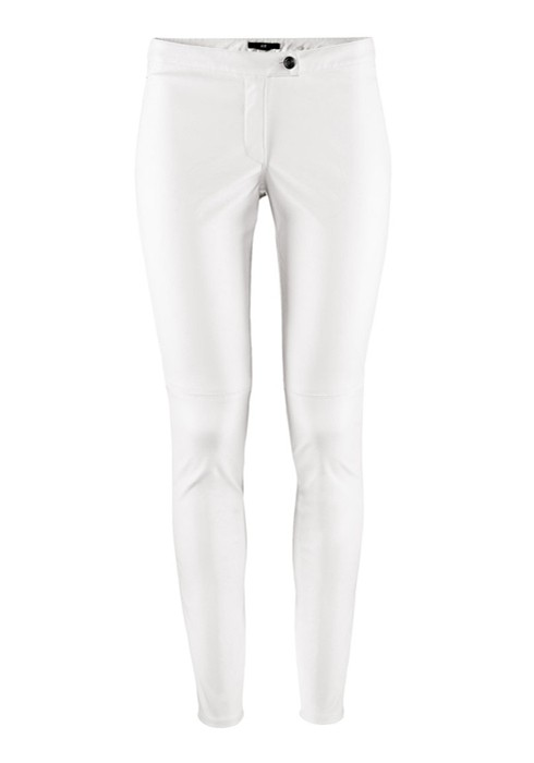 White Button Fly Long Skinny PU Leather Pants - Pants - Bottoms