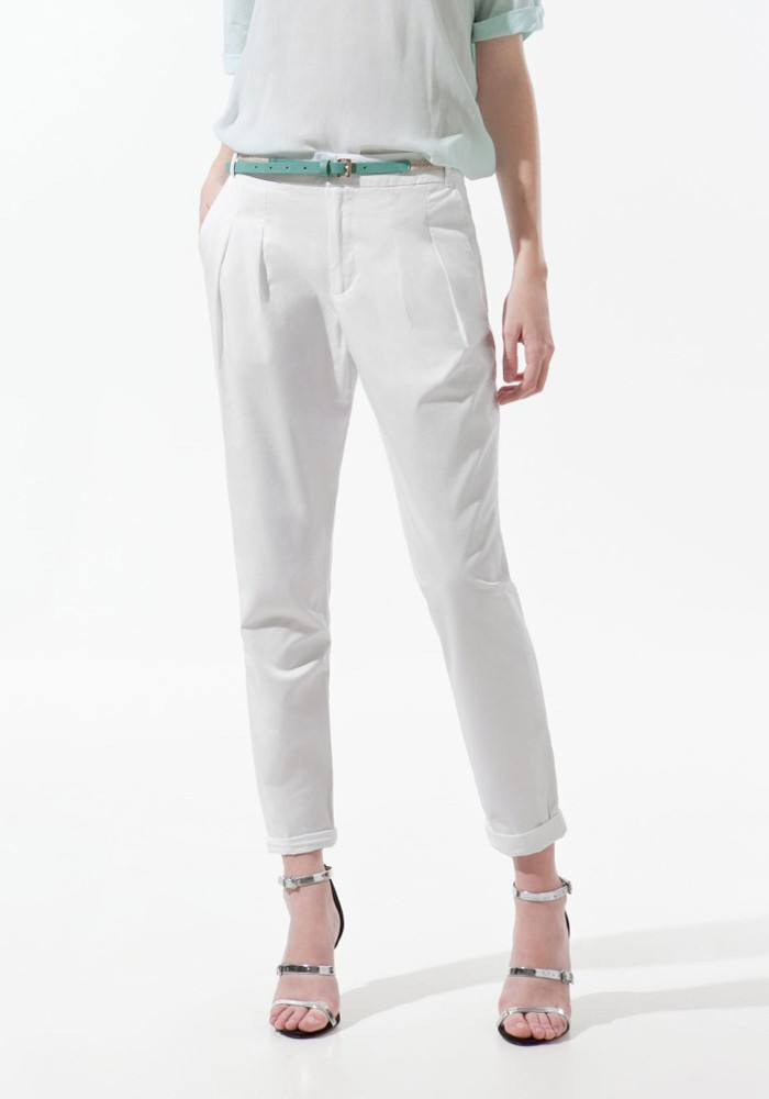 White Low Waist Belt Long Loose Cotton Pants - Pants - Bottoms