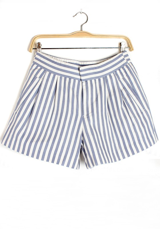 Blue Striped Zipper Sewing Straight Cotton Shorts - Shorts - Bottoms