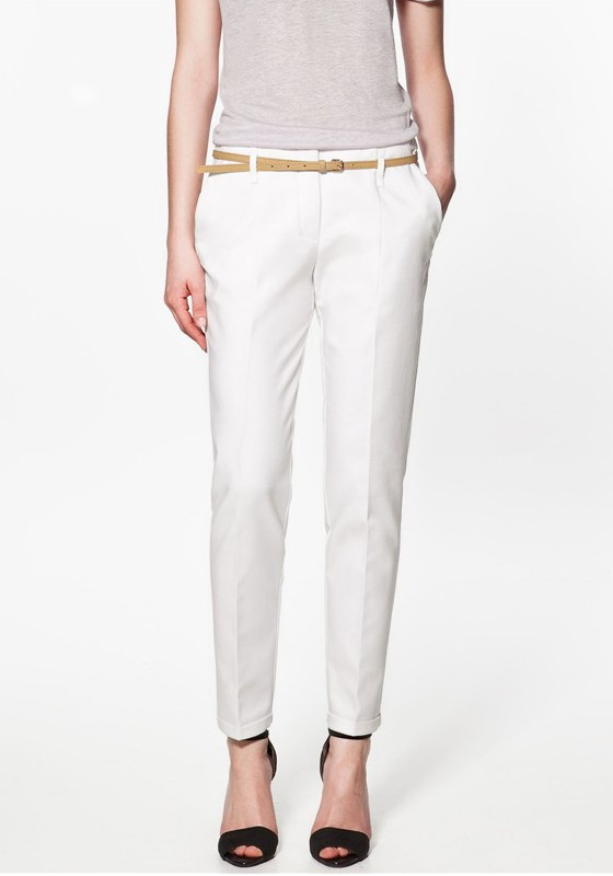 White Plain Low Waist Belt Cotton Pants - Pants - Bottoms