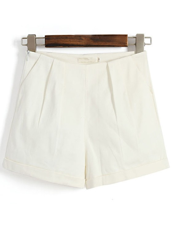 White Plain High Waist Cotton Blend Shorts - Shorts - Bottoms