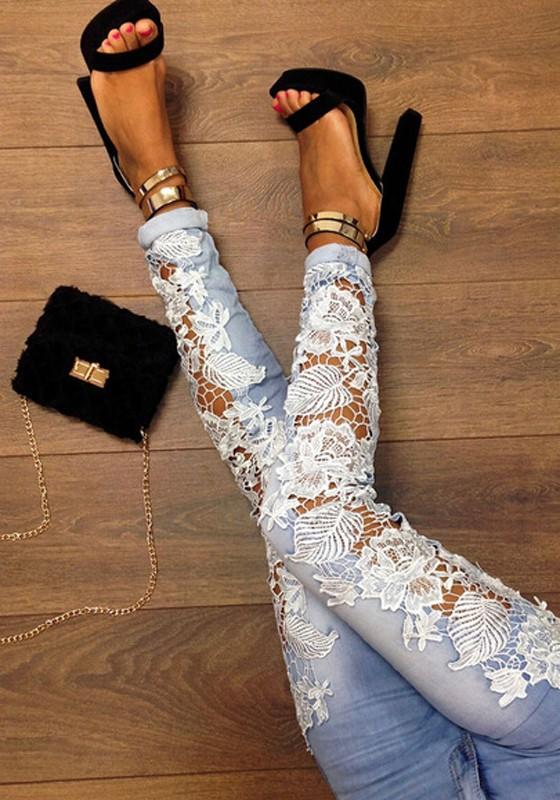 Jeans dentelle skinny crayon denim pantalon sexy femme ...