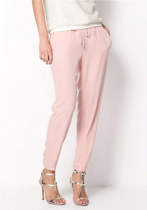rosa taschen kordelzug high waist chiffon harlan lange hosen zigarettenhose stoffhose damen. Black Bedroom Furniture Sets. Home Design Ideas