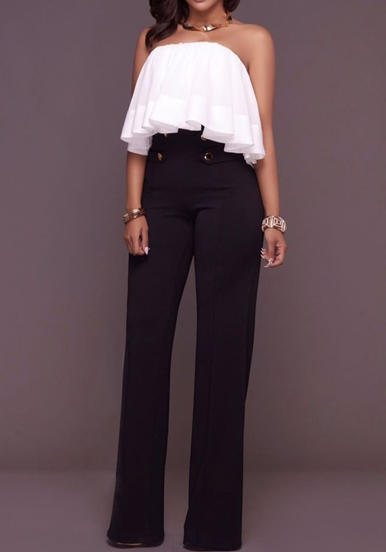 c563bf157a Black Patchwork Buttons Zipper High Waisted Wide Leg Palazzo Pants - Jeans  - Bottoms
