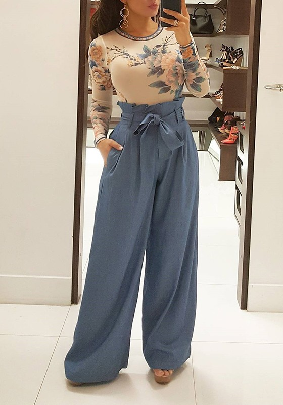 blue pleated palazzo trousers high waisted wide leg. Black Bedroom Furniture Sets. Home Design Ideas