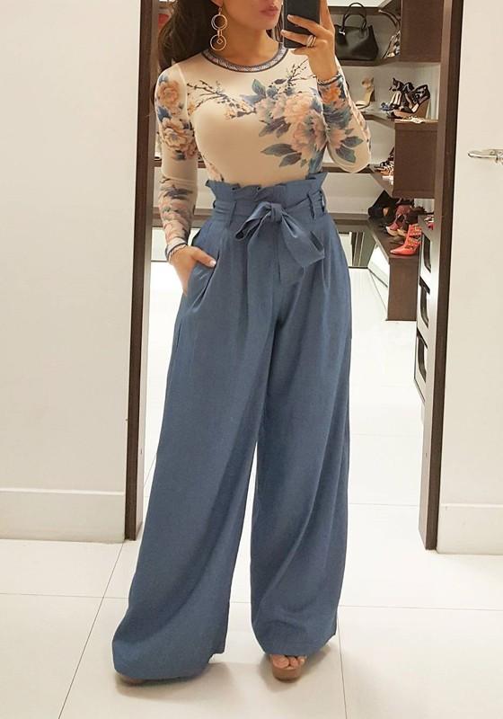 vendita calda genuina più recente grande vendita Pantaloni lunghi tasche con tasche A vita larga palazzo A gamba larga  azzurro