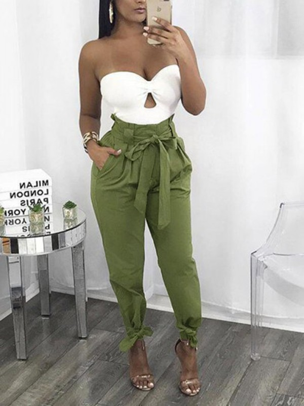 harem pantalons taille haute avec noeud ceinture d contract femme vert kaki pantalon bas. Black Bedroom Furniture Sets. Home Design Ideas
