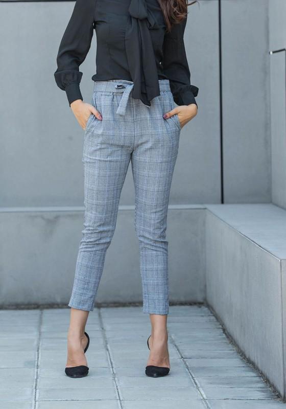 neue Sachen gesamte Sammlung Ausverkauf Grau Karierte Taschen High Waist Gürtel Beiläufige Damen Lang Hose mit  Schleife Karottenhose