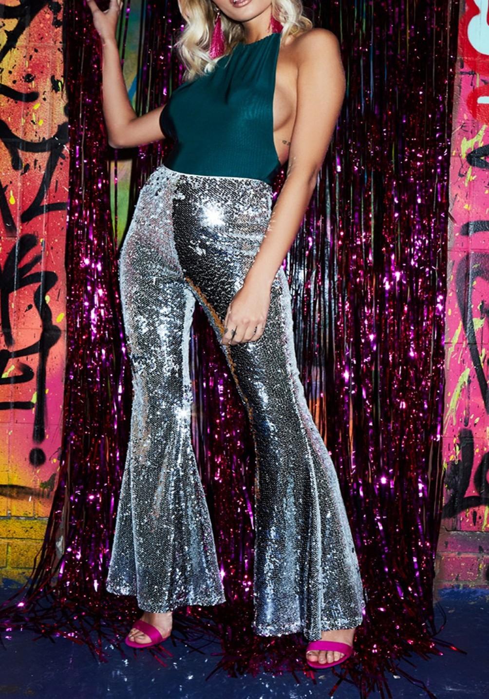 da382f1718 Silver Sequin Glitter Trendy Party Flare Bell Bottom Long Pants - Pants -  Bottoms