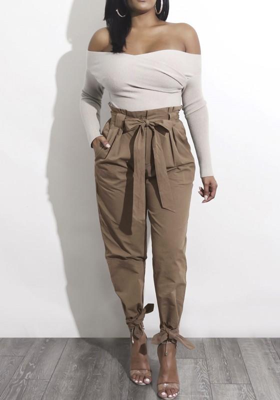 Harem Pantalons Taille Haute Avec Noeud Ceinture Mode Femme Khaki
