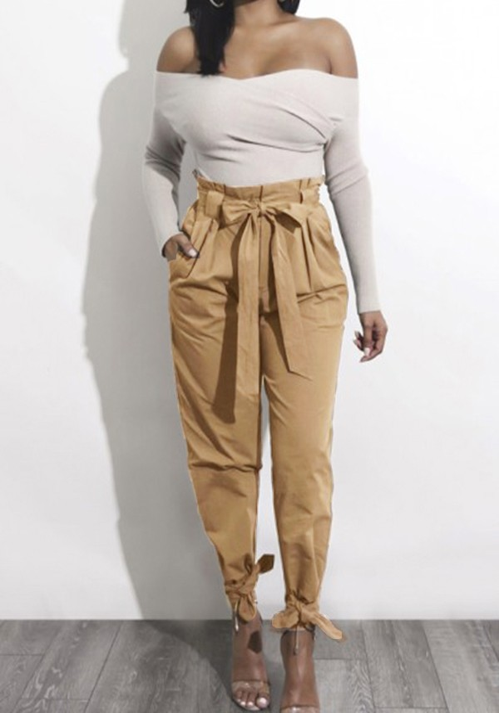 harem pantalons taille haute avec noeud ceinture mode femme khaki pantalon bas. Black Bedroom Furniture Sets. Home Design Ideas