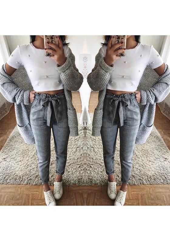 63aa43fc103a2 Pantalons longue carreaux avec noeud papillon ceinture culotte haute mode  gris femme