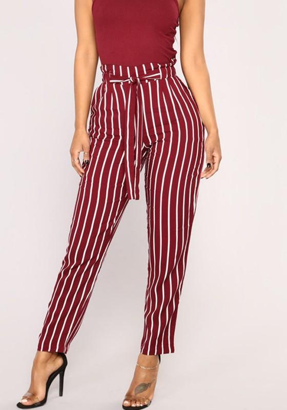 550e0d2e1178b Pantalons longue rayé ceinture taille haute mode décontracté rouge femme