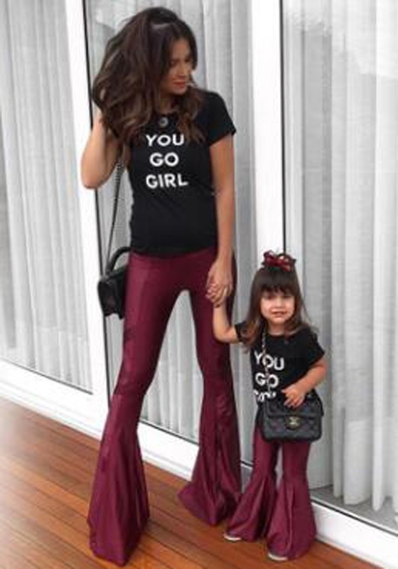 d527a7daf39559 Burgundy Ruffle Bell Bottom High Waisted Flare Parent-Child Outfit Long  Pants - Pants - Bottoms