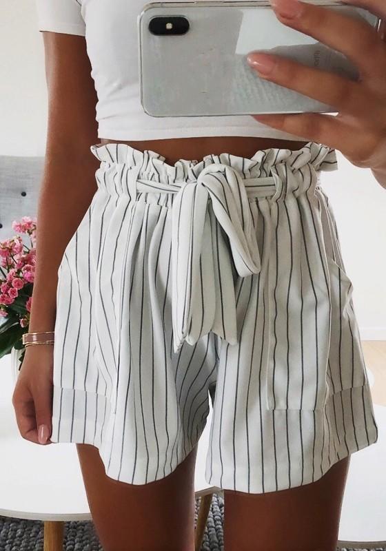 b880697e9ab83f Schwarz Weiße Gestreifte Schleife Taschen Hohe Taille Kurze Hose  Bindegürtel Damen Shorts Hptpants