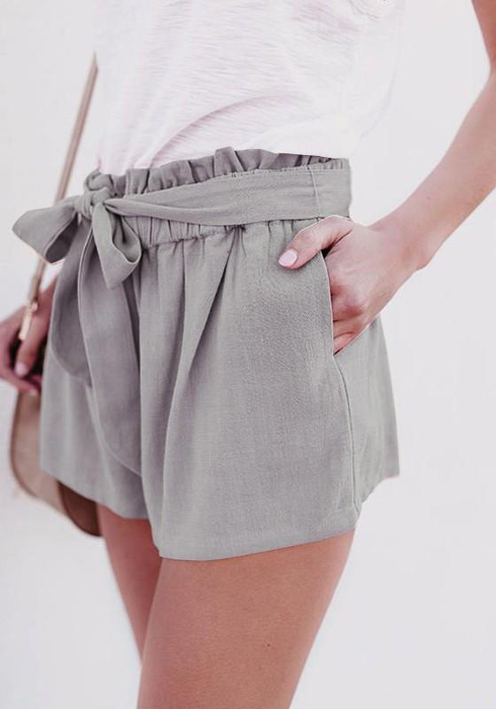 Qualität 100% Spitzenqualität stylistisches Aussehen Grau Taschen Schleife Mit Bindegürtel Hohe Taille Beiläufige Kurze Hose  Damen Shorts Hotpants Günstig