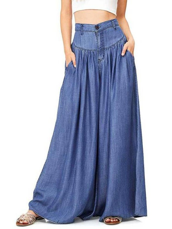 Blue Pockets Draped Plus Size High Waisted Casual Comfy Long Wide