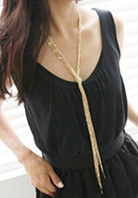 Golden Tassel Fashion Long Chain Necklace
