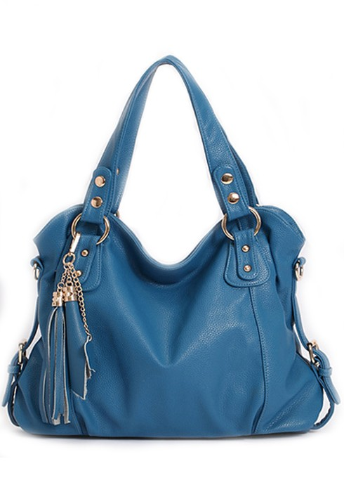 Blue Cotton Lining PU Leather Tote Bag - Tote Bags - Bags ...